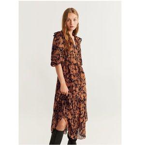 MANGO Floral Chiffon Midi Dress